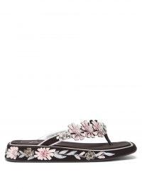 ROGER VIVIER Vivier Blossom hand-painted flatform sandals / floral toe post flatforms