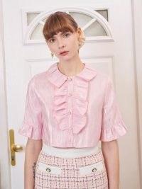 SISTER JANE Affection Ruffle Cropped Blouse / metallic pink crop hem blouses
