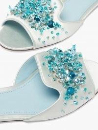 DOLCE & GABBANA Bianca blue crystal-embellished satin slides ~ luxe mules