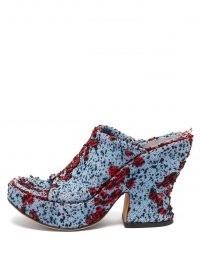 BOTTEGA VENETA Bouclé wedge platform mules ~ textured tweed style peep-toe platforms