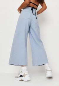 Missguided blue cropped raw hem wide leg jeans