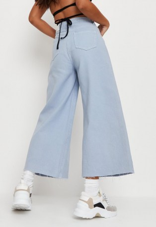 Missguided blue cropped raw hem wide leg jeans - flipped