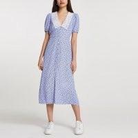 River Island Blue floral print collar midi dress   vintage style summer dresses