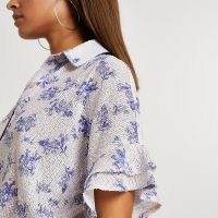 RIVER ISLAND Blue floral sequin short sleeve shirt – sequinned shirts