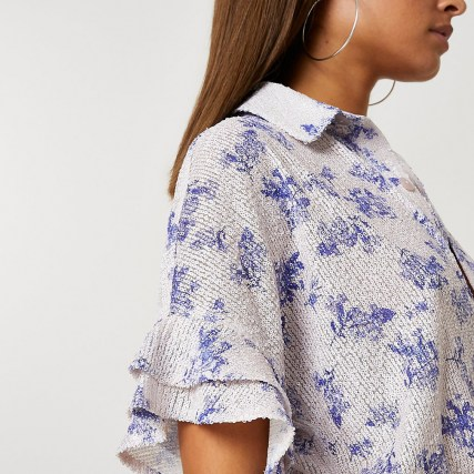 RIVER ISLAND Blue floral sequin short sleeve shirt – sequinned shirts - flipped