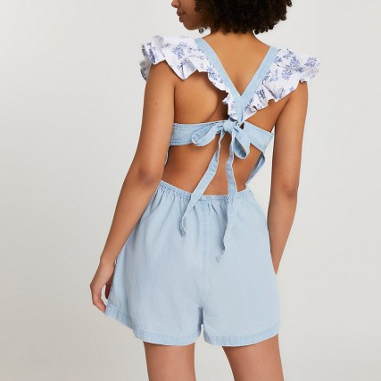 River Island Blue frill denim playsuit | tie back detail playsuits