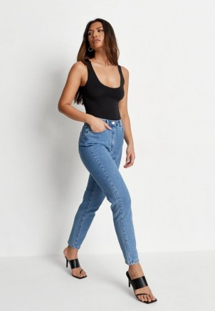 Missguided blue high waisted comfort stretch denim mom jeans - flipped