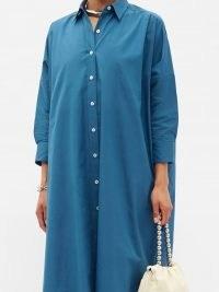 JIL SANDER Side-slit cotton-poplin shirt dress ~ blue effortless style dresses