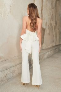 lavish alice bow back satin mix fit and flare jumpsuit in ivory – evening jumpsuits with statement bows