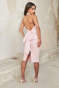 LAVISH ALICE bow back satin mix midi dress in pink ~ glamorous pencil dresses
