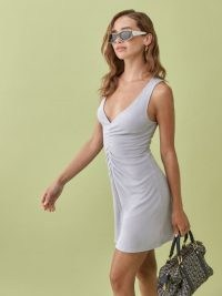 Reformation Brenda Dress | baby blue ruched front mini dresses | plunging necklines