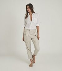 REISS BRIA LINEN BLEND CARGO TROUSERS STONEBRIA ~ cool casual style