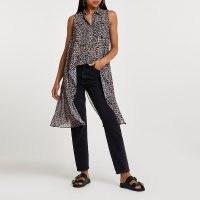RIVER ISLAND Brown animal print asymmetric shirt ~ sleeveless dip hem shirts