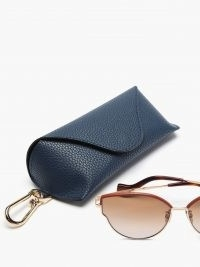 LOEWE Leather-trimmed cat-eye metal sunglasses | retro sunnies