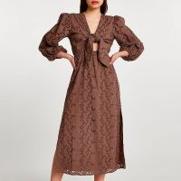 River Island Brown long sleeve cut out broderie midi dress | side slit front knot dresses