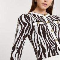 RIVER ISLAND Brown RI zebra print fitted cardigan