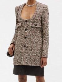 BOTTEGA VENETA Scoop-neck cotton-blend bouclé jacket ~ longline textured tweed style jackets