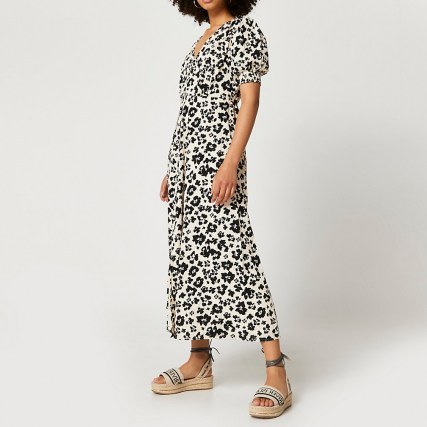 RIVER ISLAND Brown short sleeve button down midi dress / floral day dresses - flipped