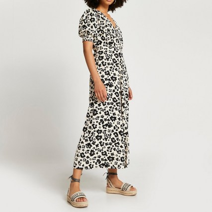 RIVER ISLAND Brown short sleeve button down midi dress / floral day dresses