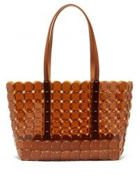 PACO RABANNE Brown vinyl and leather chainmail tote | transparent shopper bags