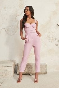 lavish alice bustier corset detail jumpsuit in lilac pink – fitted bust cup jumpsuits