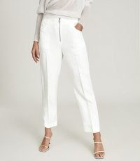 REISS CALLY LINEN BLEND TROUSERS WITH EXPOSED ZIP DETAIL WHITE / casual ankle grazing summer pants