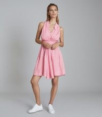 REISS CARLOTTA BUTTON THROUGH MINI DRESS PINK ~ sleeveless tie waist dresses