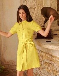 BODEN Carrie Linen Shirt Dress Daffodil / yellow collared tie waist dresses
