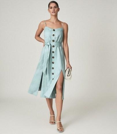 REISS CATALINA LINEN BUTTON-UP MIDI DRESS SAGE GREEN / strappy front slit tie waist dresses / summer occasionwear - flipped