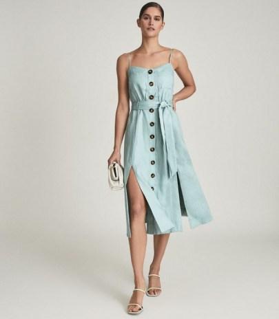 REISS CATALINA LINEN BUTTON-UP MIDI DRESS SAGE GREEN / strappy front slit tie waist dresses / summer occasionwear