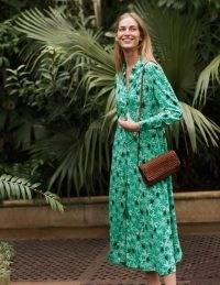 BODEN Cecile Midi Shirt Dress Highland Green, Monkey Palm / animal print dresses