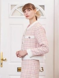 SISTER JANE Admirer Tweed Boxy Cardigan ~ pink checked cardigans