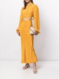 Christopher Esber cut-out tie skirt in mango yellow | fluid silk skirts