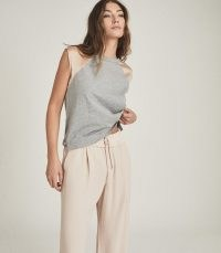 REISS CORA JERSEY COLOUR BLOCK T-SHIRT GREY / luxe cap sleeve tee