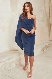 lavish alice corset draped cape midi dress in navy – dark blue one shoulder evening dresses