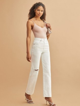 Reformation Cowboy High Rise Straight Jeans in Vintage White Destroyed | ripped denim - flipped