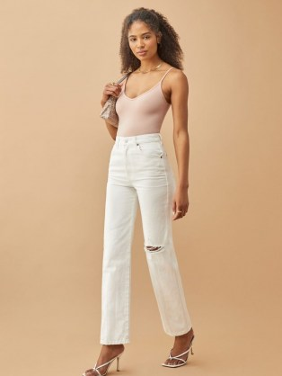 Reformation Cowboy High Rise Straight Jeans in Vintage White Destroyed | ripped denim
