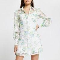 RIVER ISLAND Cream floral organza shirt dress / semi sheer collared dresses