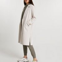 RIVER ISLAND Cream jersey duster jacket ~ longline open front jackets