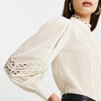 RIVER ISLAND Cream lace trim long sleeve blouse top ~ high neck blouses