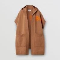 BURBERRY Horseferry Cashmere Blend Jacquard Hooded Cape in Camel ~ light brown designer logo capes