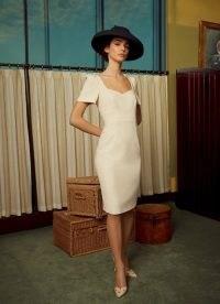 L.K. BENNETT DEE CREAM CREPE SHIFT DRESS ~ vintage style event dresses ~ summer event glamour