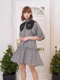 sister jane Regards Gingham Collared Mini Dress / checked frill hem dresses / fashion with volume