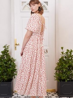 sister jane Petal Post Tiered Midi Dress / drapy open back floral dresses