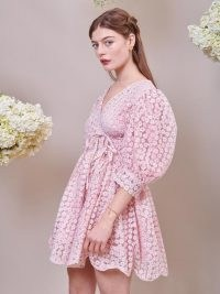 sister jane DREAM Pink Petalled Mini Wrap Dress Veiled Rose – romantic floral sheer overlay dresses
