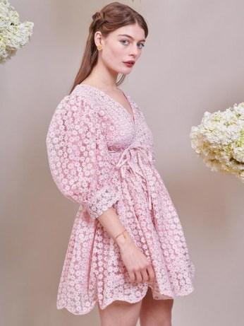 sister jane DREAM Pink Petalled Mini Wrap Dress Veiled Rose – romantic floral sheer overlay dresses - flipped
