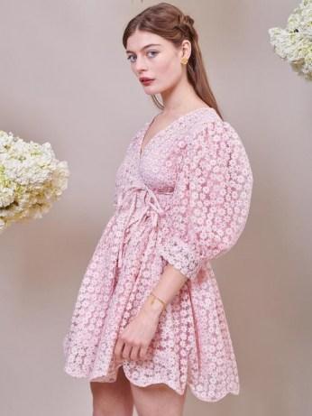 sister jane DREAM Pink Petalled Mini Wrap Dress Veiled Rose – romantic floral sheer overlay dresses