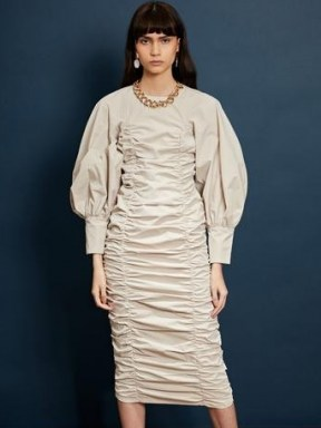 sister jane Ghospell Dramatic Pause Ruched Midi Dress - flipped