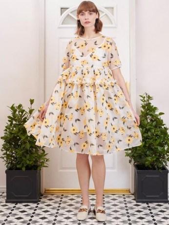 sister jane Lady Love Oversized Midi Dress / romantic semi sheer floral dresses - flipped