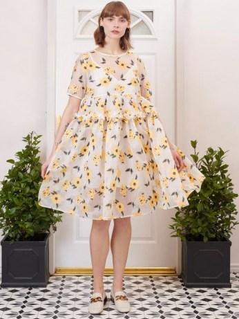 sister jane Lady Love Oversized Midi Dress / romantic semi sheer floral dresses